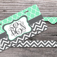 Set of TWO - Mint Trellis pattern and Charcoal Gray chevron, Monogrammed License plate and License Plate Frame, moroccan pattern - 187