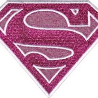 Supergirl Iron-On Patch Pink Glitter Shield Logo