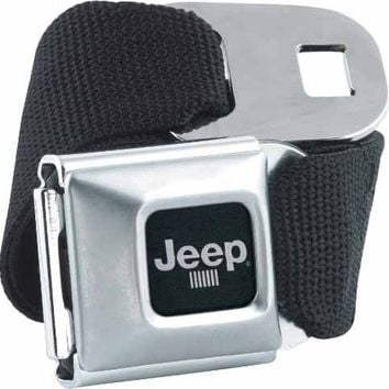 Official Licensed Jeep Car Logo Seatbelt Buckle with Black Canvas Webbing
