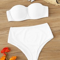 Removable Strap Bustier Bandeau With High Waist Bikini