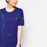 ASOS TALL T-Shirt With Embroidered Cactus Print at asos.com