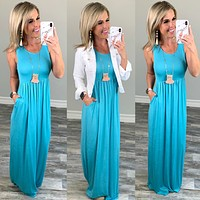 I'll Be By the Pool Maxi Dress - Ocean