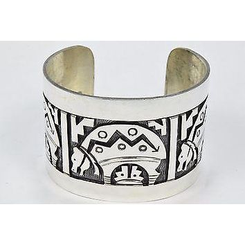 Navajo American Montoya Unsigned Silver Stamped United States .925 Cuff Bracelet