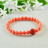 Pink Coral Good Fortune Mini Gemstone Energy Bracelet