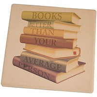 Books Better Than People Square Sandstone Coaster