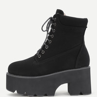 Platform Lace Up Block Heeled Boots -SheIn(Sheinside)