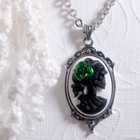 Green Rose Lolita Cameo Necklace  Black And by FashionCrashJewelry