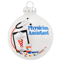 Physician Assistant White Opal Glass Ornament