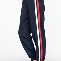 Long Jogger Pants with Side Stripe Details - Navy  ONLY LARGES LEFT