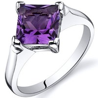 Amethyst Engagement Ring Sterling Silver 1.50 Carats Sizes 5 to 9