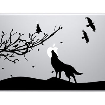 Howling Wolf Night Scene - Macbook Vinyl Decal Sticker - Black / Blue