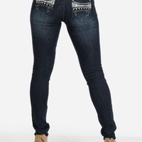 Embellished Back Pockets Low Rise Skinny Jeans