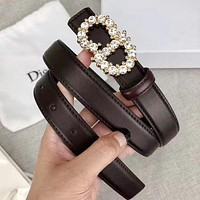 Dior Stylish Woman Men Chic CD Letter Diamond Buckle Belt Leather Belt Width 2.4 CM With Box