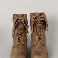 Rice-69 Plaid Cuff Military Lace Up Boot