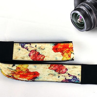 Abstract Design World Map Camera Strap. Gift For Men.