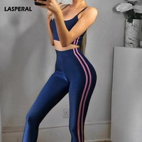 LASPERAL High Waist Striprd Women Jumpsuit Blue Spaghetti Strap Gym Yoga Set Fitness Workout Slim Bodycon Sexy Sports Tracksuits