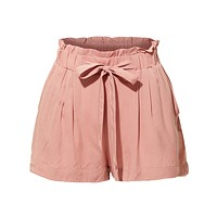 Stretchy High Waisted Paperbag Solid Short Pants (CLEARANCE)