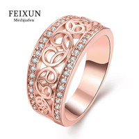 Anillos Ringen Voor Vrouwen Stainless Steel Rings For Women Rose Gold Plated Trendy Round Crystal Jewelry RingR232