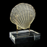 Oceanside - Vintage Dorothy Thorpe Resin Seashell Sculpture, Scallop Shell on Clear Lucite Base, Mid Century Modern Decor