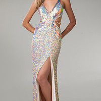 Sequin Low Cut V-Neck Gown By Primavera