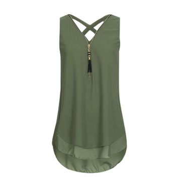 Summer Fashion Women Loose Sleeveless Solid Tank Top Cross Back Hem Layed Zipper Casual V-Neck Shirts Vest