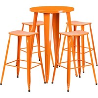 24'' Round Metal Indoor-Outdoor Bar Table Set with 4 Backless Saddle Seat Barstools