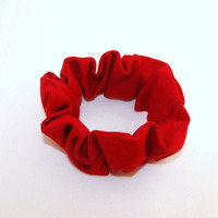 Top Knot 80s Hair Scrunchies Solid Red 80s Hair Accessory Woman Teen