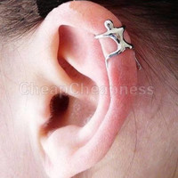 2Pieces Cool Silver Climbing Man Naked Climber Ear Cuff Helix Cartilage Earring