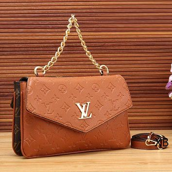 Louis Vuitton Fashion Women New Satchel Monogram Leather Chain Crossbody Shoulder Bag Handbag Brown
