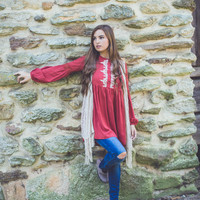 Embroidered Gauze Tunic in Burgundy