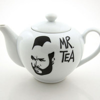 Mr T Tea Teapot Upcycled White by LennyMud on Etsy