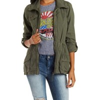 Olive Linen Anorak with Studded Pocket by Charlotte Russe