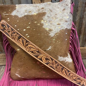 Cowhide with Gold Acidwash Purse with Pink Fringe Purse