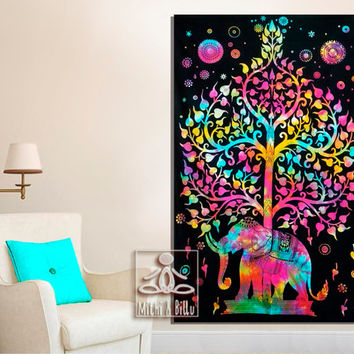 Elephant Tapestry Multicolor Tie Died Tablecloth Ethnic Indian Wall Decor Art Hippie Bedding Gypsy Bed Sheets Tree Of Life Beach Throw 1012