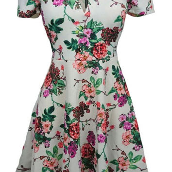 Ivory Off Shoulder Floral Dress