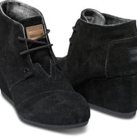 BLACK SUEDE WOMEN'S DESERT WEDGES