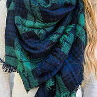 Rocky Mountain Plaid Scarf Winter Green
