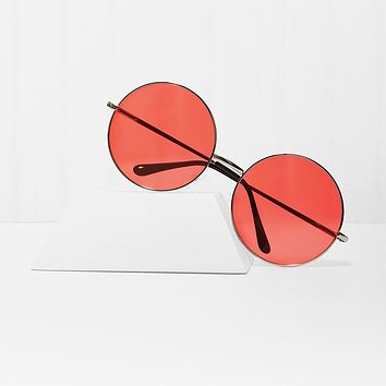 Almost Famous Round Red Sunglasses