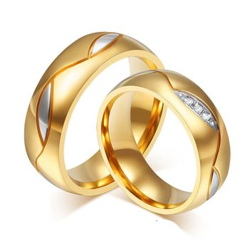 Rings Couple For Women Men Engagement Ring Gold Color Titanium Steel Jewelry A10