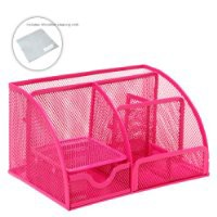 MyGift Multipurpose Fuchsia Pink Metal Mesh 6 Compartment Desk Organizer Office Supply Caddy