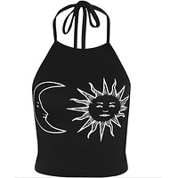 Printing sun and moon Halter Camisole
