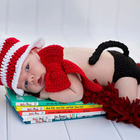 Crochet Dr seuss cat in the hat newborn photo prop, newborn top hat, free shipping, red and white striped hat, cat photo prop, crochet