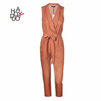 Haoduoyi Sexy v-neck tie sleeveless office lady rompers spring fashion long jumpsuits