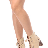 Taupe Faux Leather Lace Up Chunky Peep Toe Booties