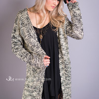 Girls Night Out Chunky Knit Pocket Cardigan (Taupe)
