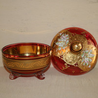 Vintage Hand Painted Glass Candy Dish Gold Red Lidded Dish Lidded Bowl Ruby Red Cranberry Red Raised Floral Ornate Victorian Glassware