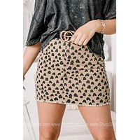 Show Up & Show Out Spotted Denim Skirt