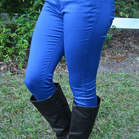 Living In Color Skinny Jeans: Royal Blue