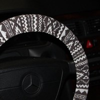 Tribal Wheel Cover - Aztec Steering Wheel Cover - Women's Wheel Cover Gray, Black and White .