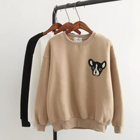 Dog Head Embroidered Sweater